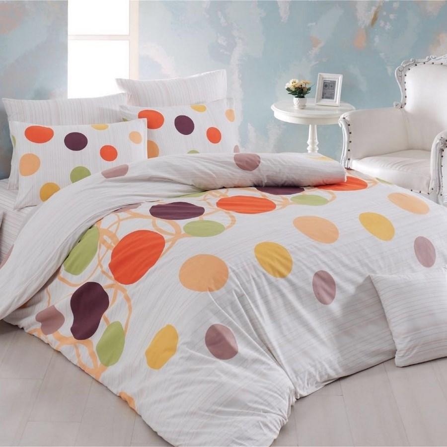 bavlnen oblie ky bodky oran ov 220 x 200 cm 2x 70 x 90 cm bytov doplnky a dekor cie. Black Bedroom Furniture Sets. Home Design Ideas